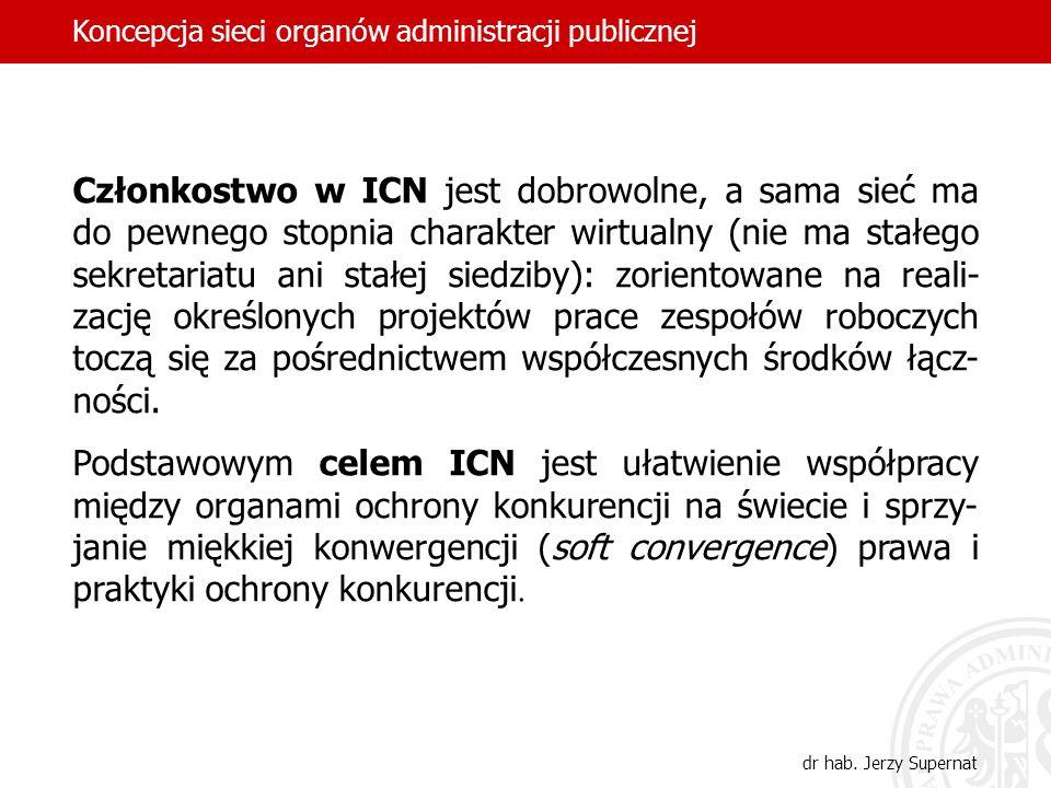 Członkostwo w ICN jest dobrowolne, a sama sieć ma do pewnego stopnia charakter wirtualny (nie ma stałego sekretariatu ani stałej siedziby): zorientowa