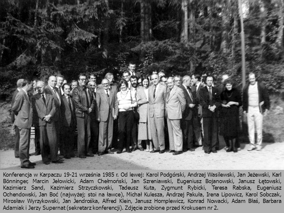 Konferencja w Karpaczu 19-21 września 1985 r. Od lewej: Karol Podgórski, Andrzej Wasilewski, Jan Jeżewski, Karl Bönninger, Marcin Jełowicki, Adam Cheł
