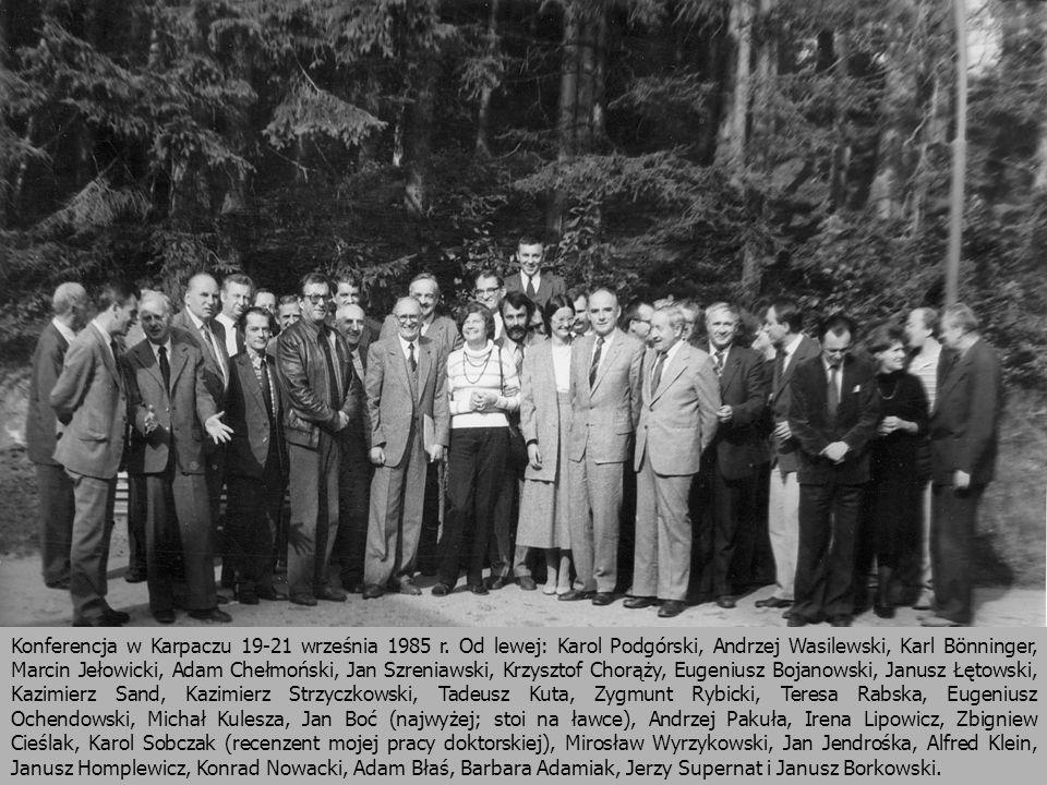Konferencja w Karpaczu 19-21 września 1985 r. Od lewej: Karol Podgórski, Andrzej Wasilewski, Karl Bönninger, Marcin Jełowicki, Adam Chełmoński, Jan Sz