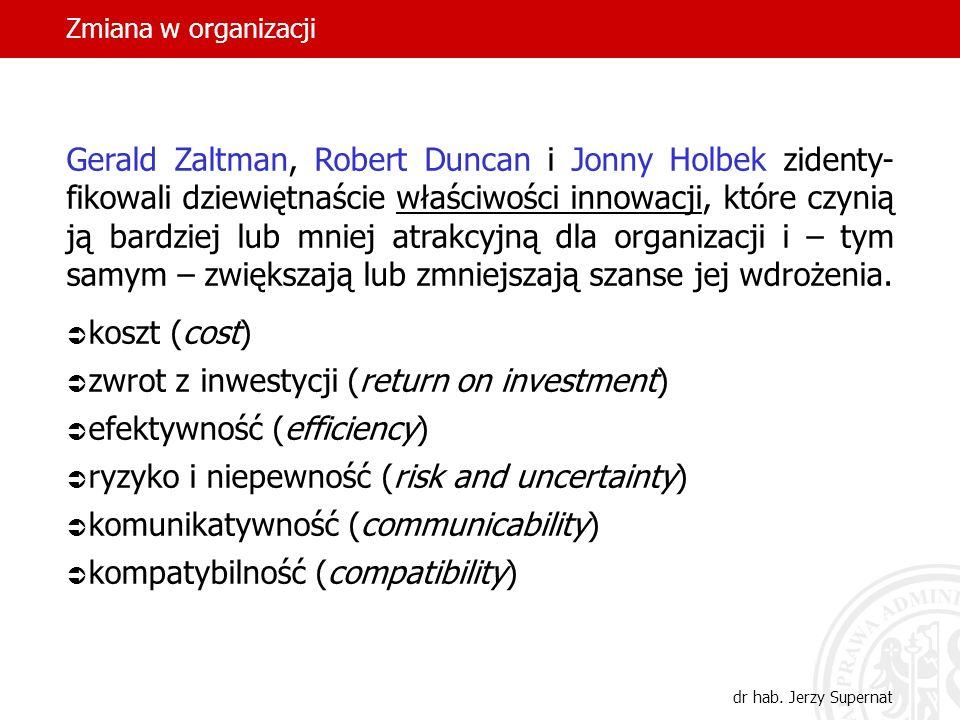 Zmiana w organizacji dr hab. Jerzy Supernat Gerald Zaltman, Robert Duncan i Jonny Holbek zidenty- fikowali dziewiętnaście właściwości innowacji, które