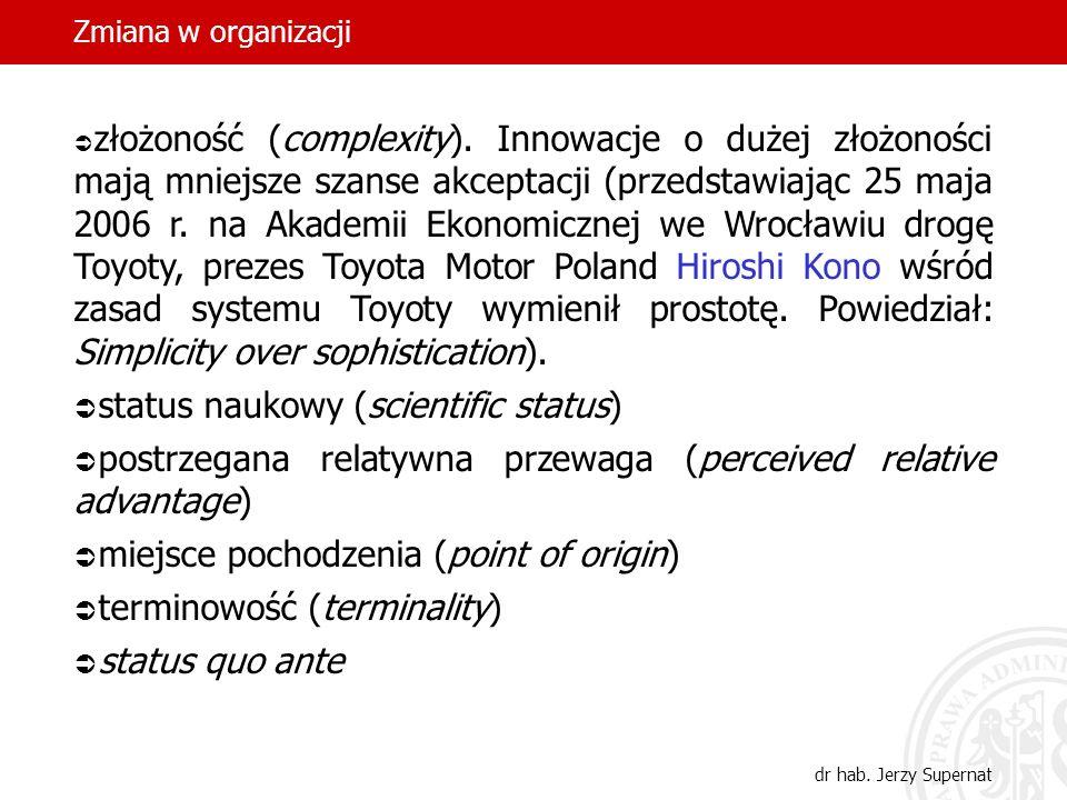 Zmiana w organizacji dr hab. Jerzy Supernat złożoność (complexity). Innowacje o dużej złożoności mają mniejsze szanse akceptacji (przedstawiając 25 ma