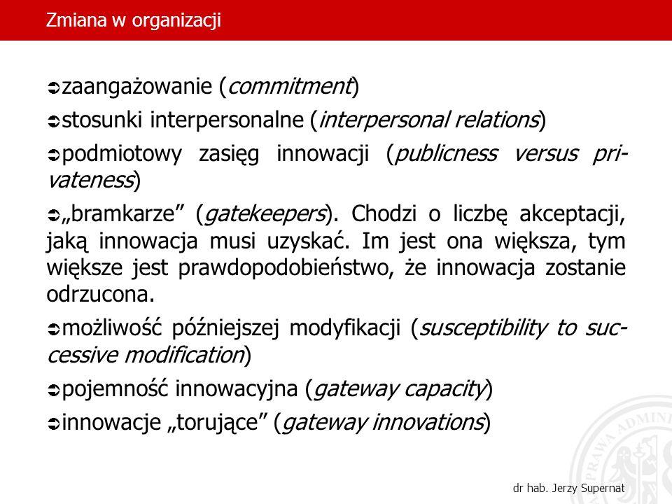 Zmiana w organizacji dr hab. Jerzy Supernat zaangażowanie (commitment) stosunki interpersonalne (interpersonal relations) podmiotowy zasięg innowacji