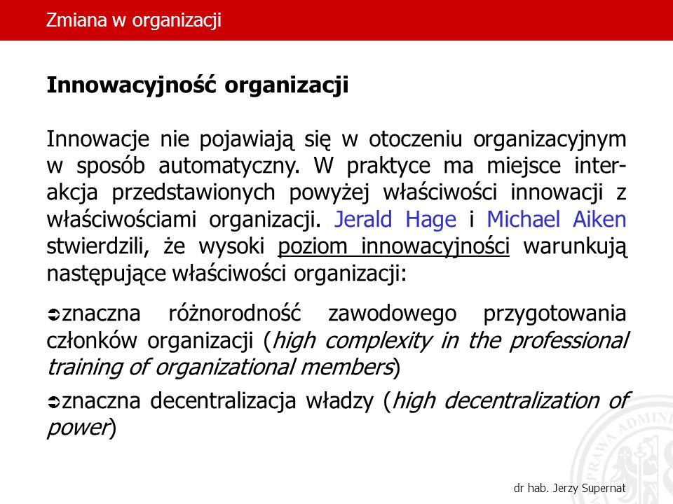 Zmiana w organizacji dr hab. Jerzy Supernat Innowacyjność organizacji Innowacje nie pojawiają się w otoczeniu organizacyjnym w sposób automatyczny. W