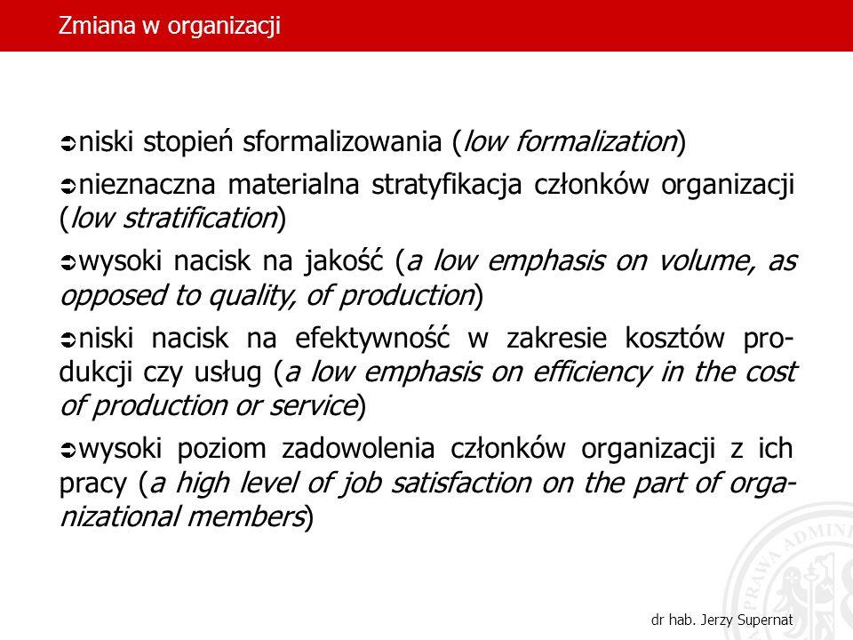 Zmiana w organizacji dr hab. Jerzy Supernat niski stopień sformalizowania (low formalization) nieznaczna materialna stratyfikacja członków organizacji