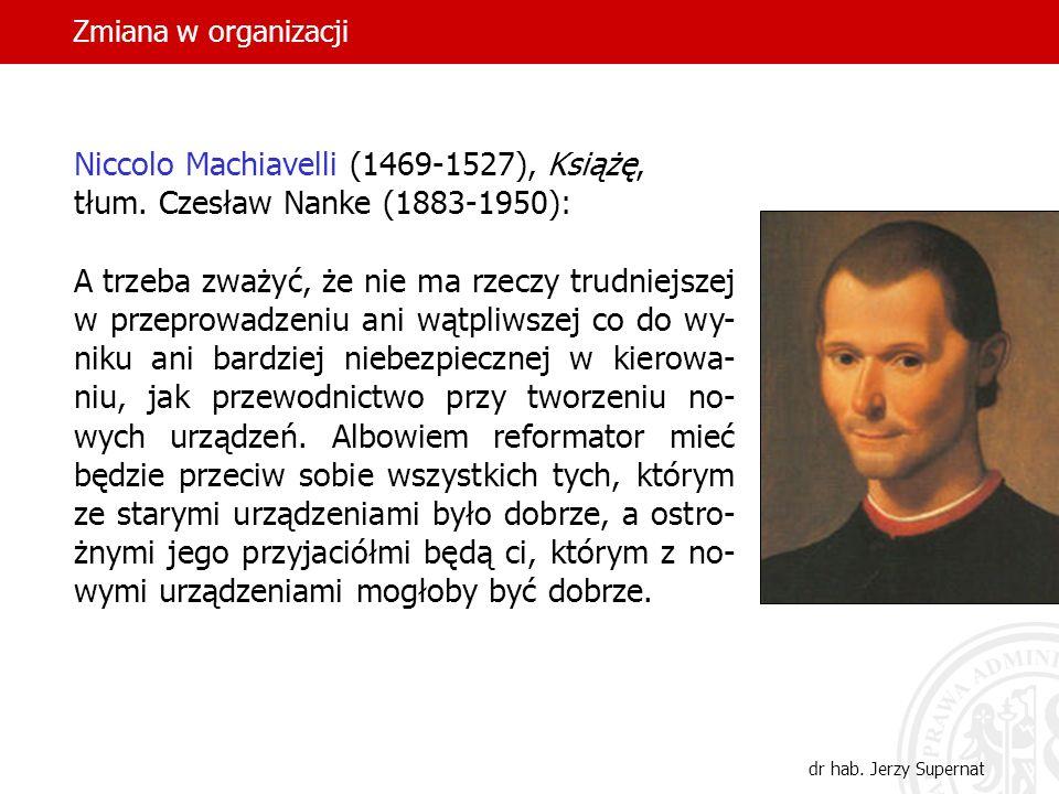 Zmiana w organizacji dr hab. Jerzy Supernat Niccolo Machiavelli (1469-1527), Książę, tłum. Czesław Nanke (1883-1950): A trzeba zważyć, że nie ma rzecz