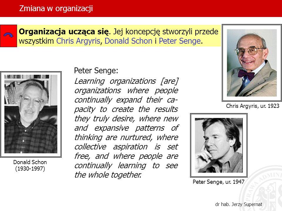 Zmiana w organizacji dr hab. Jerzy Supernat Organizacja ucząca się. Jej koncepcję stworzyli przede wszystkim Chris Argyris, Donald Schon i Peter Senge