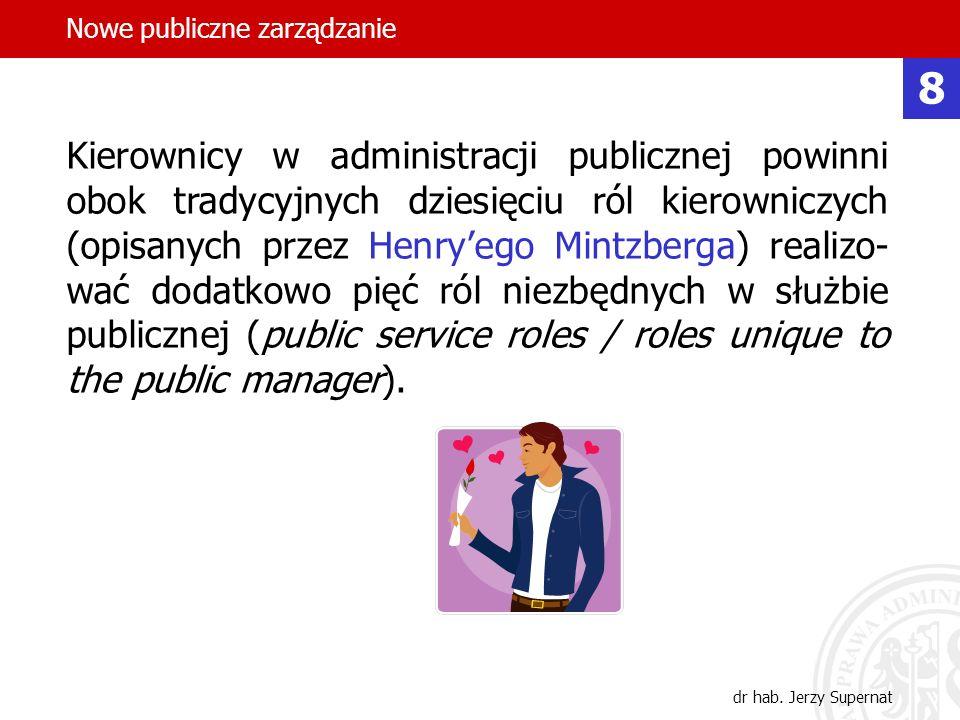 30 Kierownicy w administracji publicznej powinni obok tradycyjnych dziesięciu ról kierowniczych (opisanych przez Henryego Mintzberga) realizo- wać dod