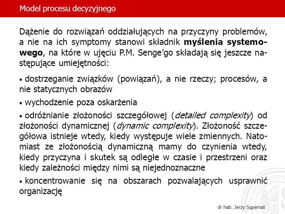 Model procesu decyzyjnego dr hab. Jerzy Supernat Dążenie do rozwiązań oddziałujących na przyczyny problemów, a nie na ich symptomy stanowi składnik my