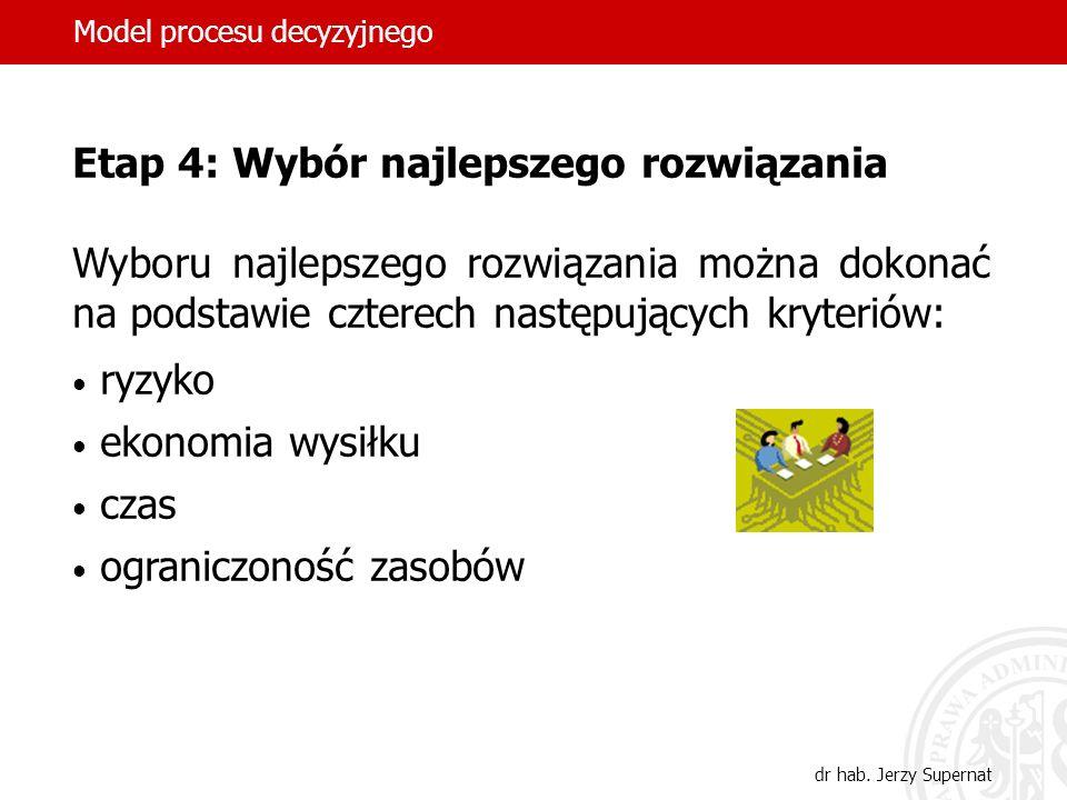 Model procesu decyzyjnego dr hab. Jerzy Supernat Etap 4: Wybór najlepszego rozwiązania Wyboru najlepszego rozwiązania można dokonać na podstawie czter
