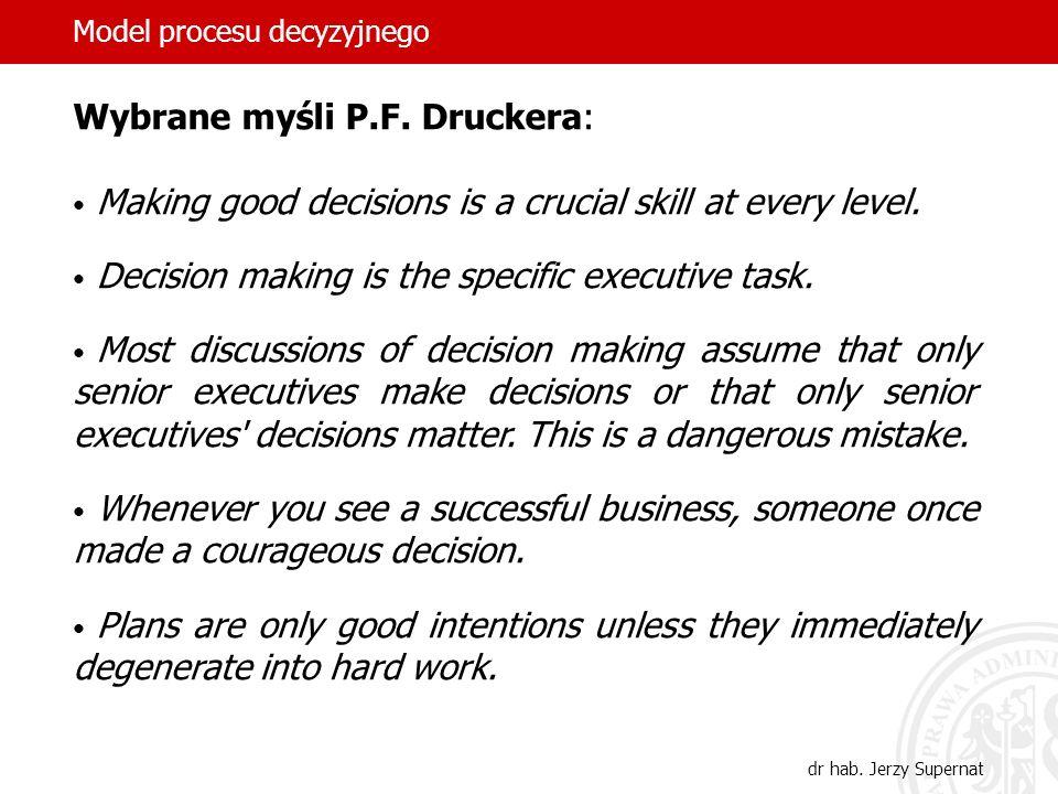 Model procesu decyzyjnego dr hab.Jerzy Supernat Twórca synektyki William J.