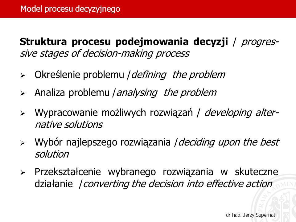 Model procesu decyzyjnego dr hab. Jerzy Supernat Struktura procesu podejmowania decyzji / progres- sive stages of decision-making process Określenie p