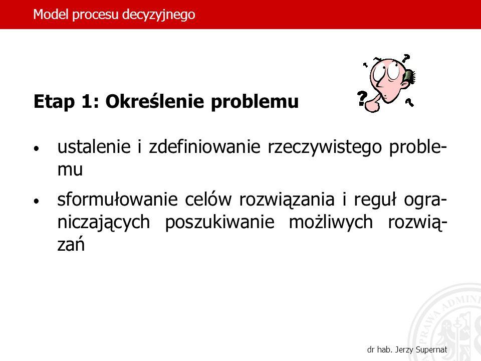 Model procesu decyzyjnego dr hab. Jerzy Supernat Etap 1: Określenie problemu ustalenie i zdefiniowanie rzeczywistego proble- mu sformułowanie celów ro