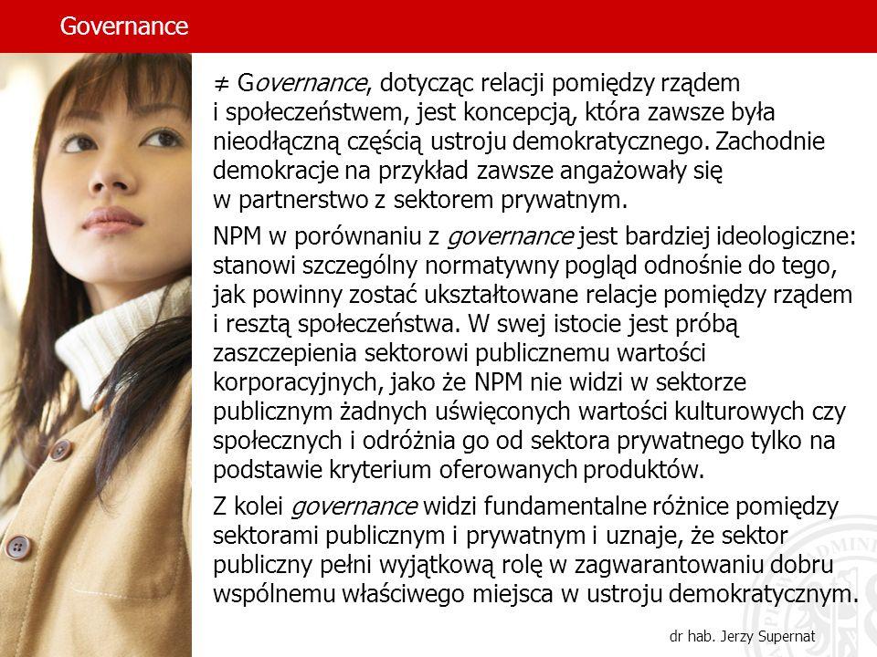 Governance dr hab. Jerzy Supernat Governance, dotycząc relacji pomiędzy rządem i społeczeństwem, jest koncepcją, która zawsze była nieodłączną częścią