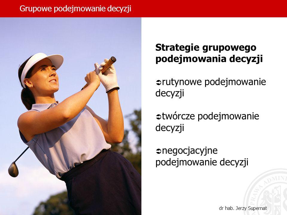 Grupowe podejmowanie decyzji dr hab. Jerzy Supernat Strategie grupowego podejmowania decyzji rutynowe podejmowanie decyzji twórcze podejmowanie decyzj