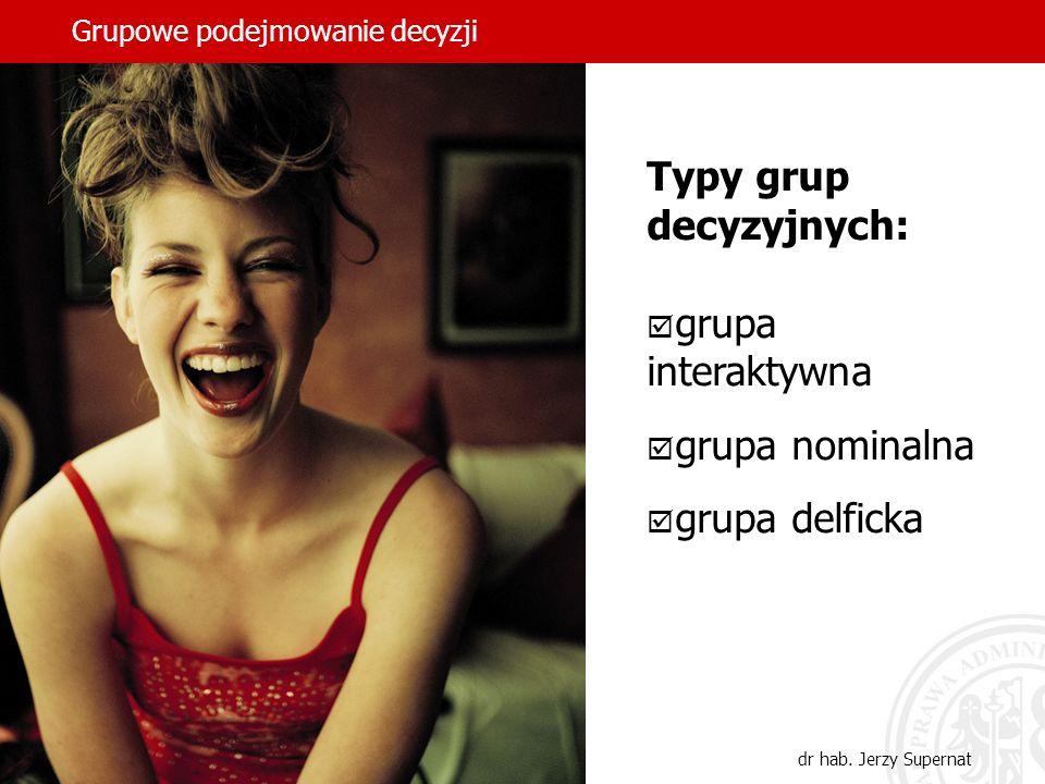 Grupowe podejmowanie decyzji dr hab. Jerzy Supernat Typy grup decyzyjnych: grupa interaktywna grupa nominalna grupa delficka