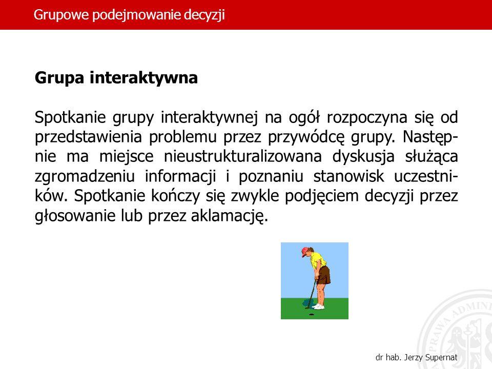 Grupowe podejmowanie decyzji dr hab. Jerzy Supernat Grupa interaktywna Spotkanie grupy interaktywnej na ogół rozpoczyna się od przedstawienia problemu
