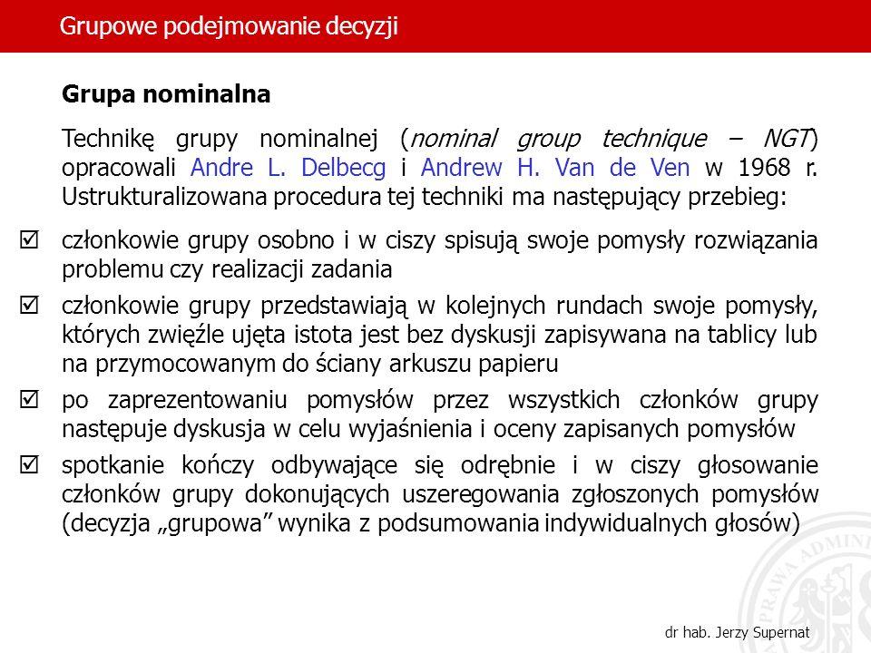 Grupowe podejmowanie decyzji dr hab. Jerzy Supernat Grupa nominalna Technikę grupy nominalnej (nominal group technique – NGT) opracowali Andre L. Delb