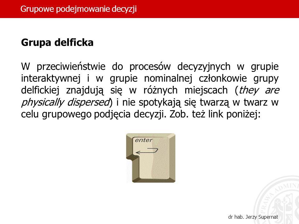 Grupowe podejmowanie decyzji dr hab. Jerzy Supernat Grupa delficka W przeciwieństwie do procesów decyzyjnych w grupie interaktywnej i w grupie nominal