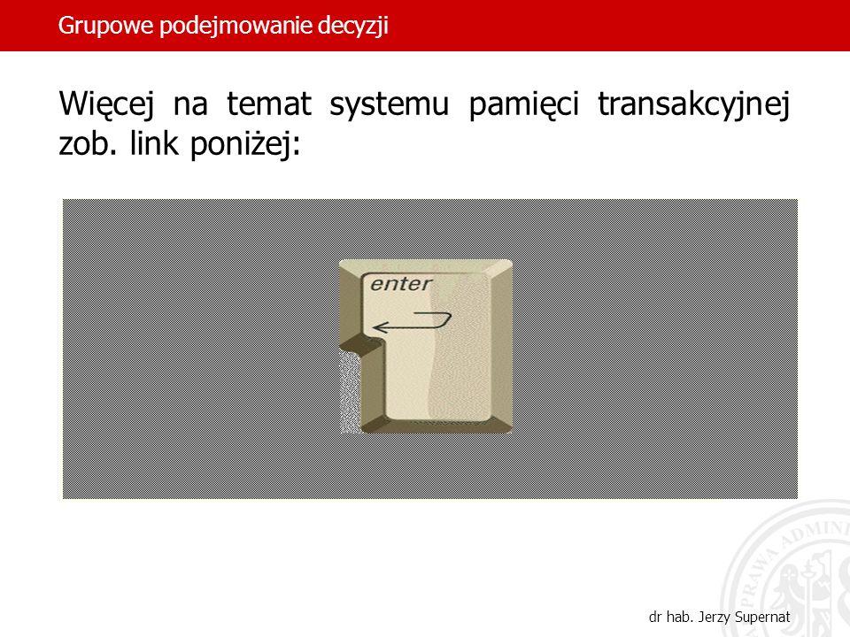 Grupowe podejmowanie decyzji dr hab. Jerzy Supernat Więcej na temat systemu pamięci transakcyjnej zob. link poniżej: