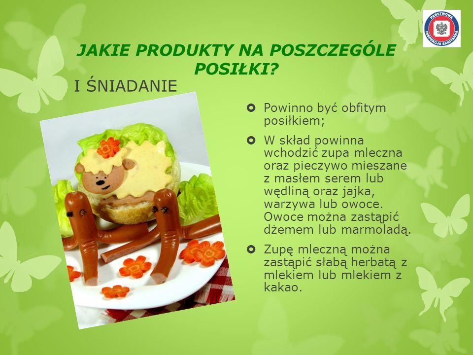 JAKIE PRODUKTY NA POSZCZEGÓLE POSIŁKI? I ŚNIADANIE Powinno być obfitym posiłkiem; W skład powinna wchodzić zupa mleczna oraz pieczywo mieszane z masłe