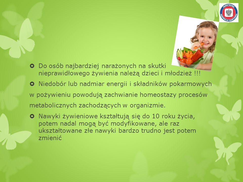 NAJCZĘŚCIEJ POPEŁNIANE BŁĘDY (na podstawie obserwacji własnych) Zbyt małe spożycie warzyw oraz owoców (głównym warzywem stają się ziemniaki); Stosowanie zbyt mało różnych dodatków do II- ich dań, w jadłospisach przeważają ziemniaki i makarony, Zbyt mała podaż ryb, Nadmierne spożycie cukru, który dostarcza pustych kalorii i używany jest na oko, Stosowanie niedozwolonych tłuszczy: słonina, smalec, boczek w dużych ilościach, Niedostateczna ilość płynów, Brak oraz niestosowanie się do receptur opracowanych w placówce, Spożycie zbyt małej ilości pierwiastków śladowych, głównie wapnia i potasu oraz spożycie zbyt małej ilości witamin,