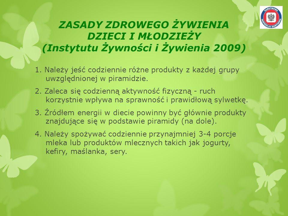 ZASADY ZDROWEGO ŻYWIENIA DZIECI I MŁODZIEŻY (Instytutu Żywności i Żywienia 2009) 1. Należy jeść codziennie różne produkty z każdej grupy uwzględnionej