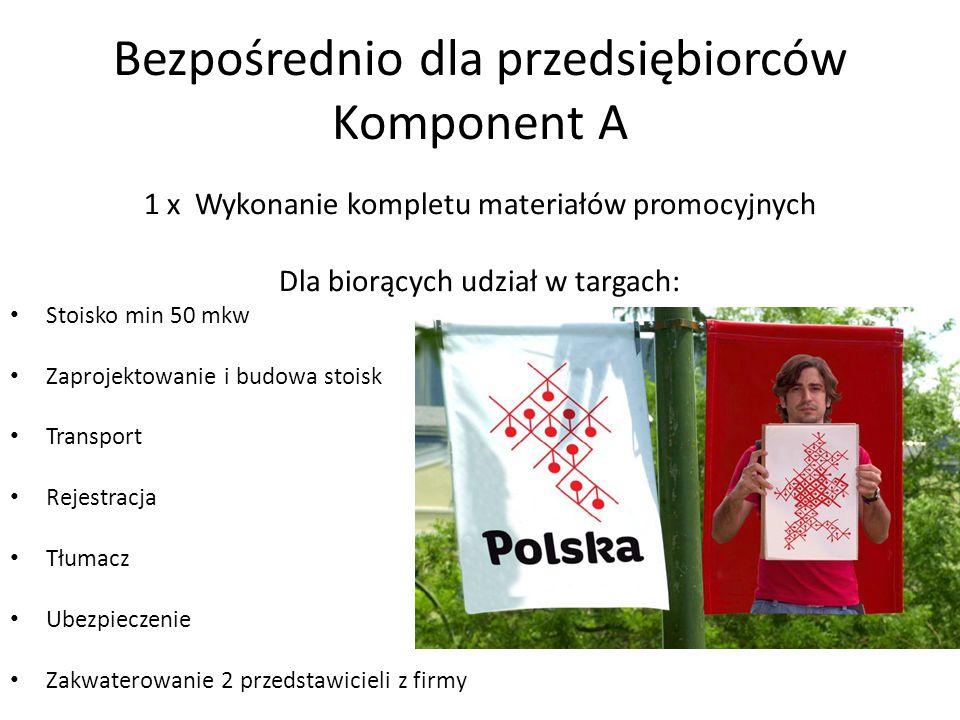Bezpośrednio dla przedsiębiorców Komponent A 1 x Wykonanie kompletu materiałów promocyjnych Dla biorących udział w targach: Stoisko min 50 mkw Zaproje