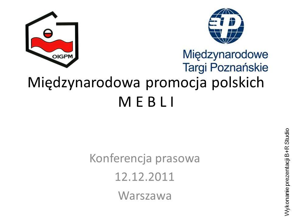 Międzynarodowa promocja polskich M E B L I Konferencja prasowa 12.12.2011 Warszawa Wykonanie prezentacji B+R Studio