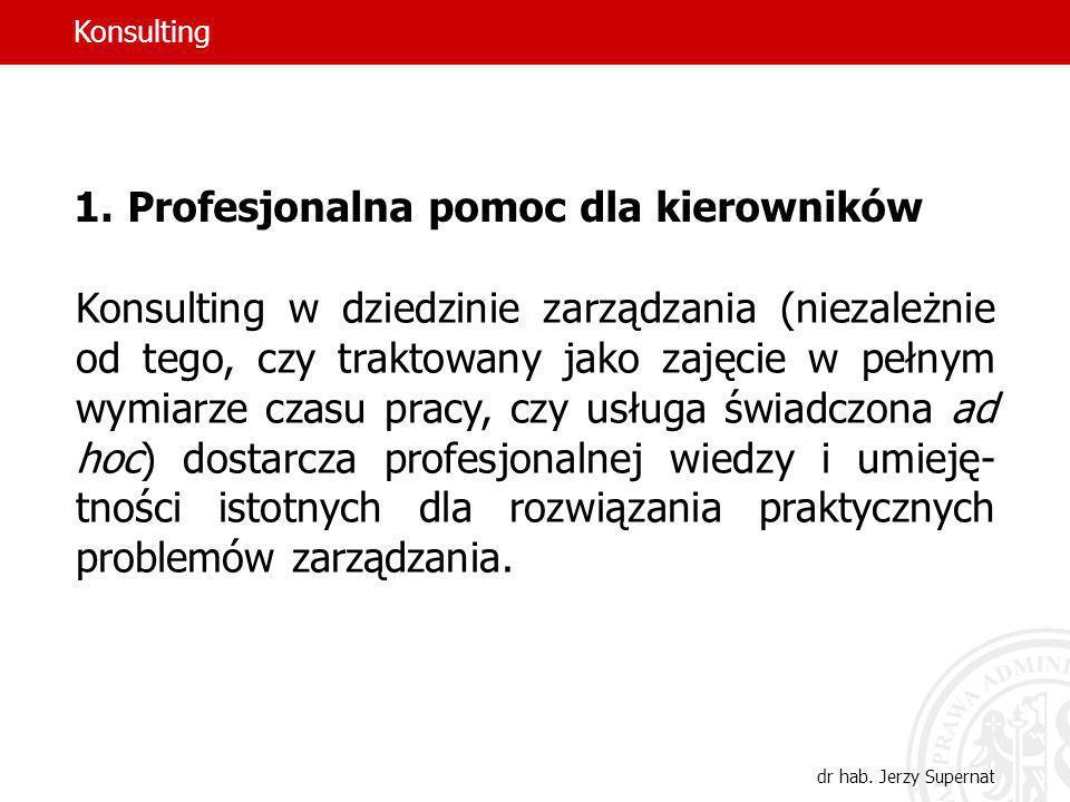 12 1.Profesjonalna pomoc dla kierowników Konsulting w dziedzinie zarządzania (niezależnie od tego, czy traktowany jako zajęcie w pełnym wymiarze czasu