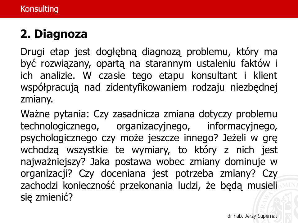 43 2. Diagnoza Drugi etap jest dogłębną diagnozą problemu, który ma być rozwiązany, opartą na starannym ustaleniu faktów i ich analizie. W czasie tego