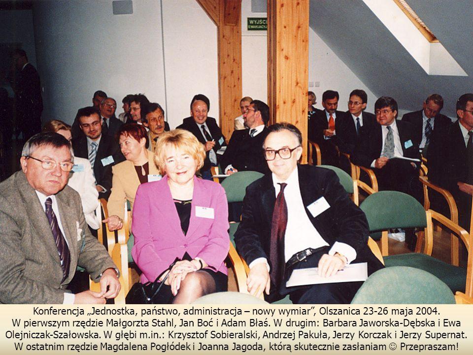 Konferencja Jednostka, państwo, administracja – nowy wymiar, Olszanica 23-26 maja 2004.