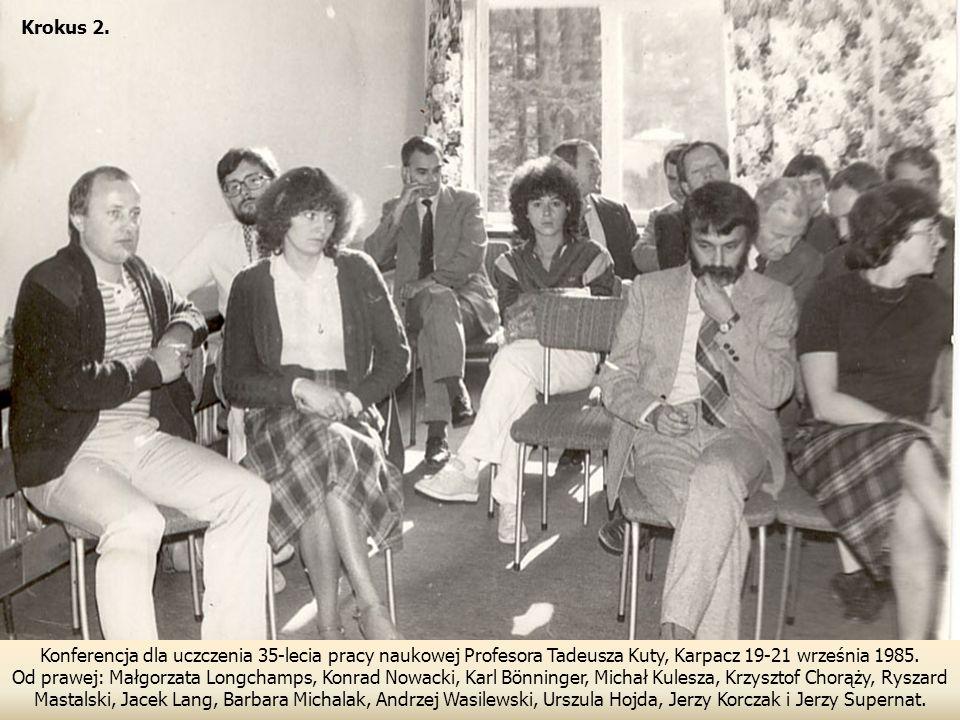 Konferencja dla uczczenia 35-lecia pracy naukowej Profesora Tadeusza Kuty, Karpacz 19-21 września 1985.