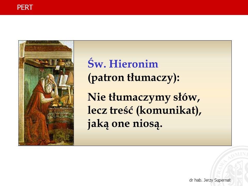 12 Św. Hieronim (patron tłumaczy): Nie tłumaczymy słów, lecz treść (komunikat), jaką one niosą. PERT dr hab. Jerzy Supernat