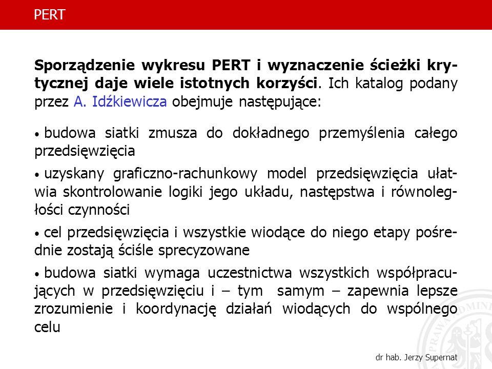 33 PERT dr hab. Jerzy Supernat Sporządzenie wykresu PERT i wyznaczenie ścieżki kry- tycznej daje wiele istotnych korzyści. Ich katalog podany przez A.