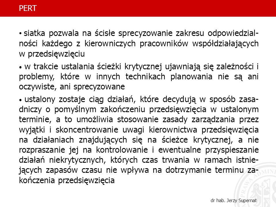 34 PERT dr hab. Jerzy Supernat siatka pozwala na ścisłe sprecyzowanie zakresu odpowiedzial- ności każdego z kierowniczych pracowników współdziałającyc