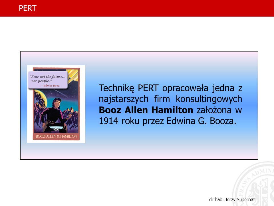 8 PERT dr hab. Jerzy Supernat Technikę PERT opracowała jedna z najstarszych firm konsultingowych Booz Allen Hamilton założona w 1914 roku przez Edwina