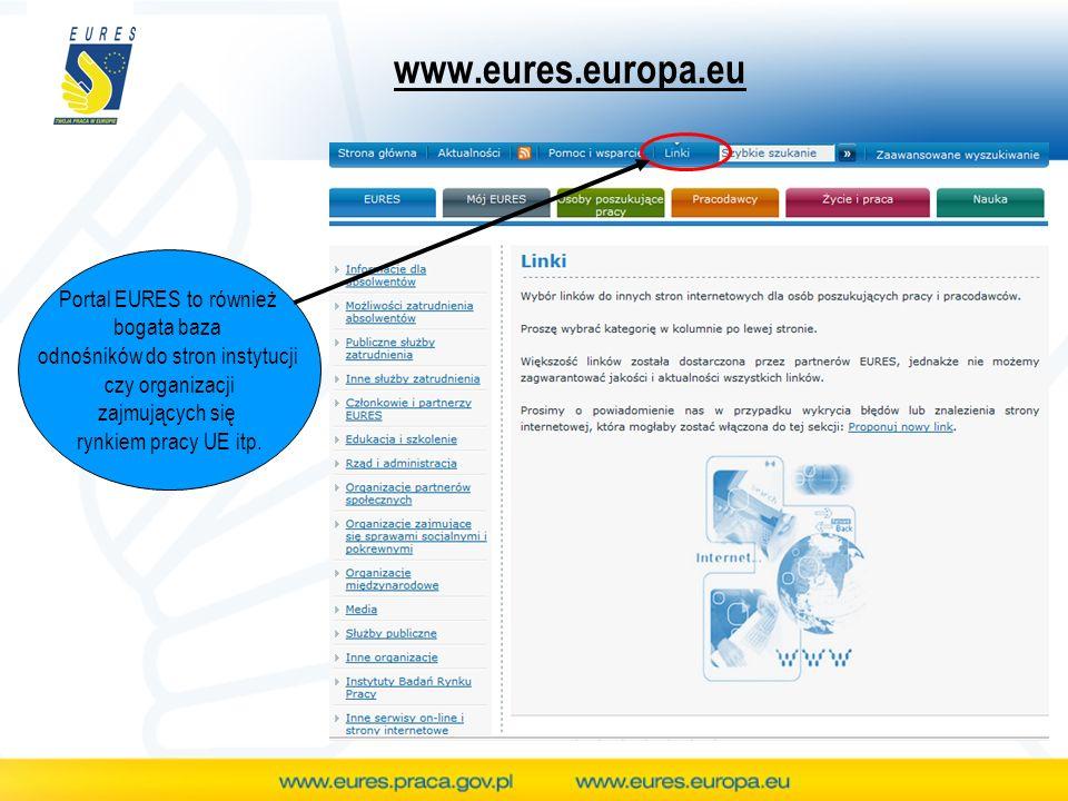 www.eures.europa.eu Portal EURES to również bogata baza odnośników do stron instytucji czy organizacji zajmujących się rynkiem pracy UE itp.