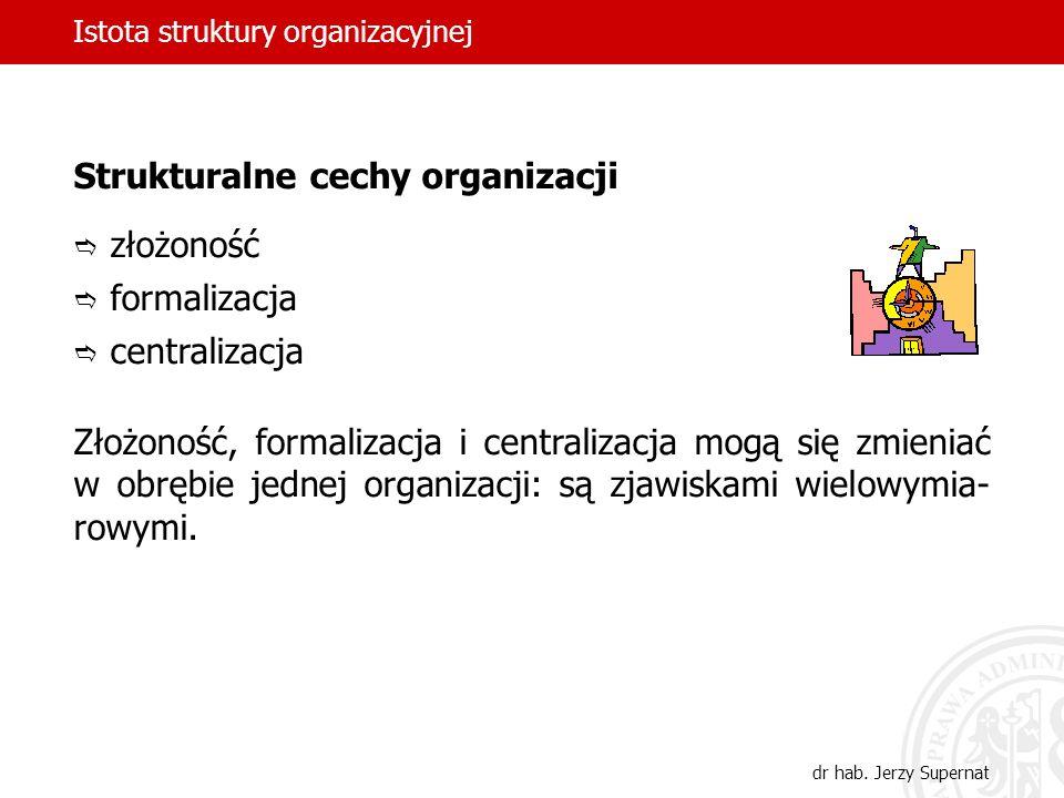 Istota struktury organizacyjnej dr hab. Jerzy Supernat Strukturalne cechy organizacji złożoność formalizacja centralizacja Złożoność, formalizacja i c