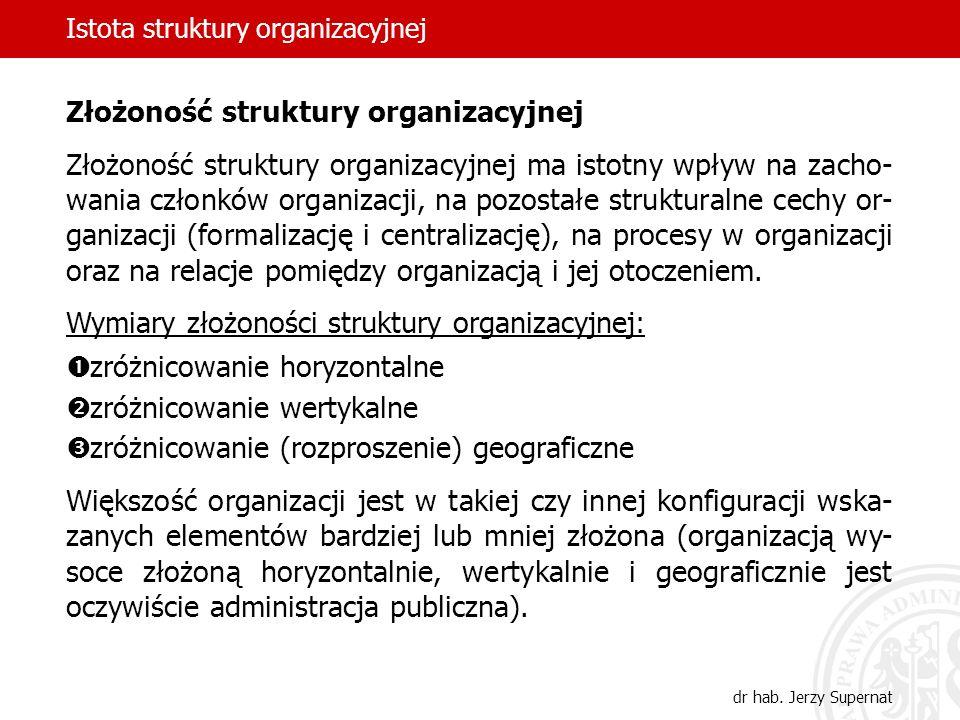 Istota struktury organizacyjnej dr hab. Jerzy Supernat Złożoność struktury organizacyjnej Złożoność struktury organizacyjnej ma istotny wpływ na zacho