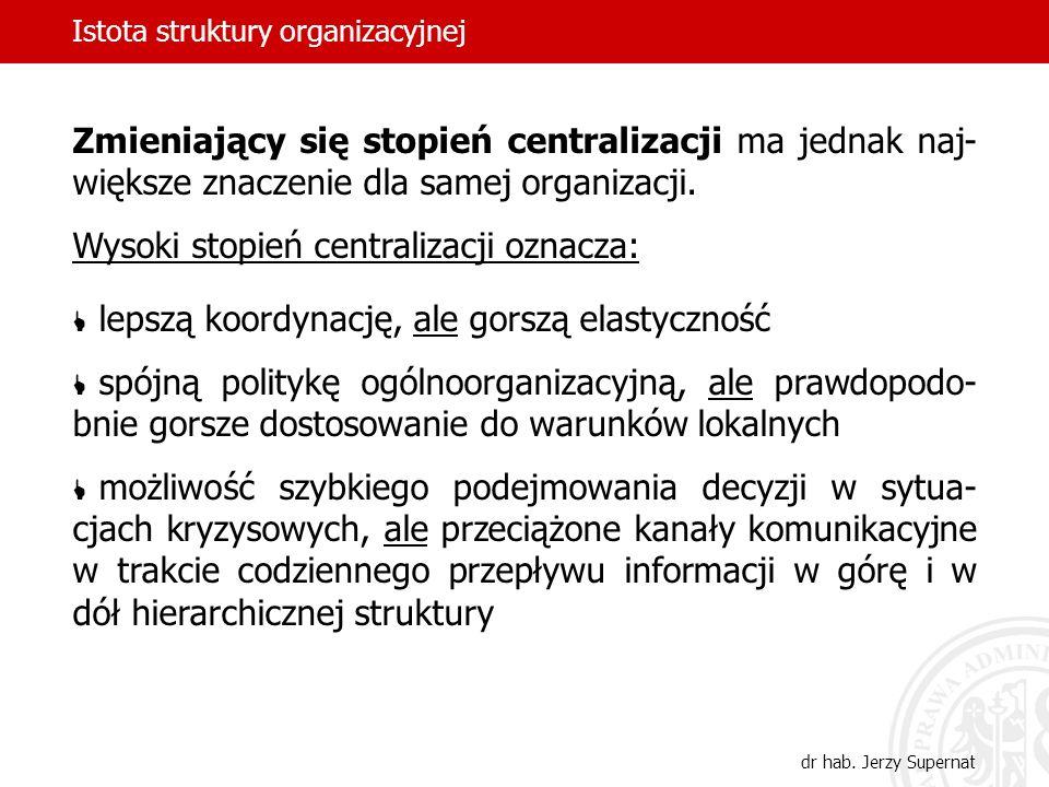 Istota struktury organizacyjnej dr hab. Jerzy Supernat Zmieniający się stopień centralizacji ma jednak naj- większe znaczenie dla samej organizacji. W