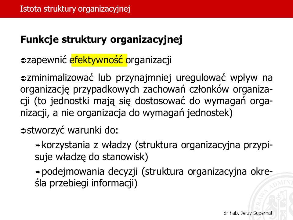 Istota struktury organizacyjnej dr hab. Jerzy Supernat Funkcje struktury organizacyjnej zapewnić efektywność organizacji zminimalizować lub przynajmni
