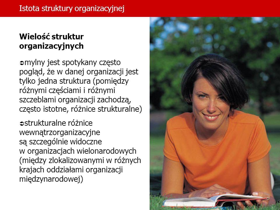 Istota struktury organizacyjnej Wielość struktur organizacyjnych mylny jest spotykany często pogląd, że w danej organizacji jest tylko jedna struktura