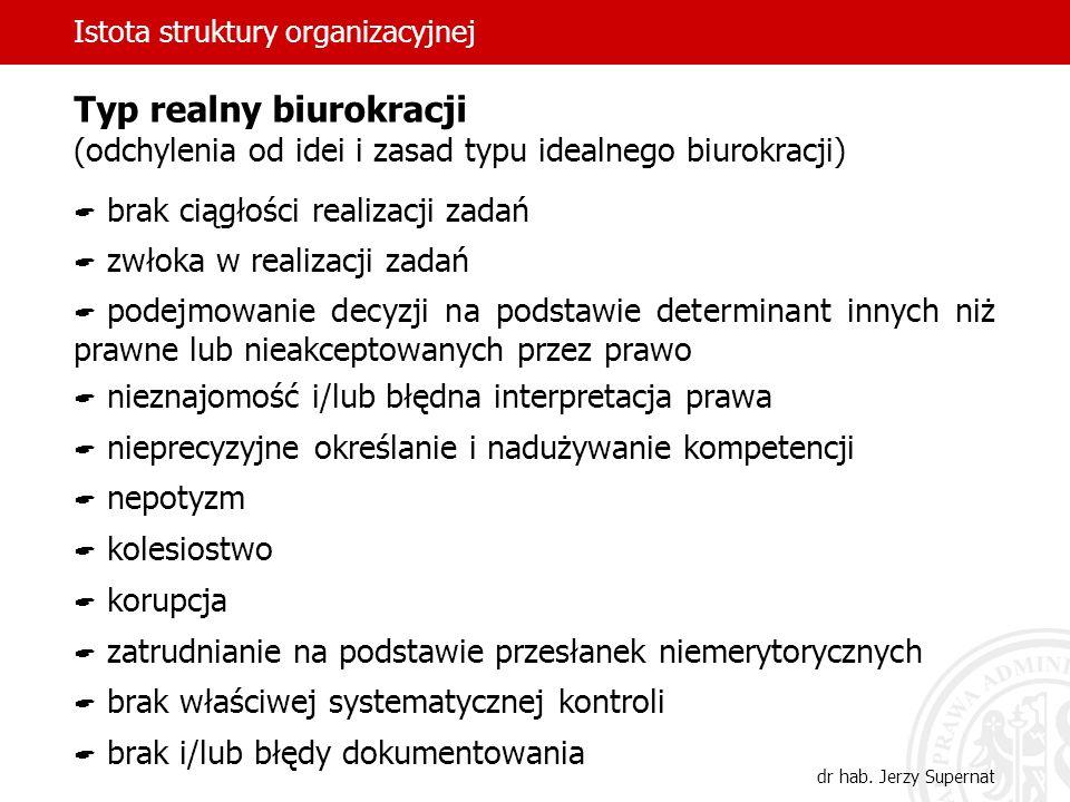 Istota struktury organizacyjnej dr hab. Jerzy Supernat Typ realny biurokracji (odchylenia od idei i zasad typu idealnego biurokracji) brak ciągłości r