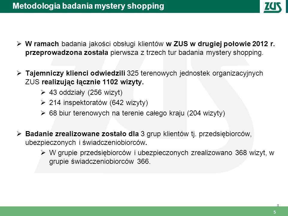 5 Metodologia badania mystery shopping 5 W ramach badania jakości obsługi klientów w ZUS w drugiej połowie 2012 r. przeprowadzona została pierwsza z t