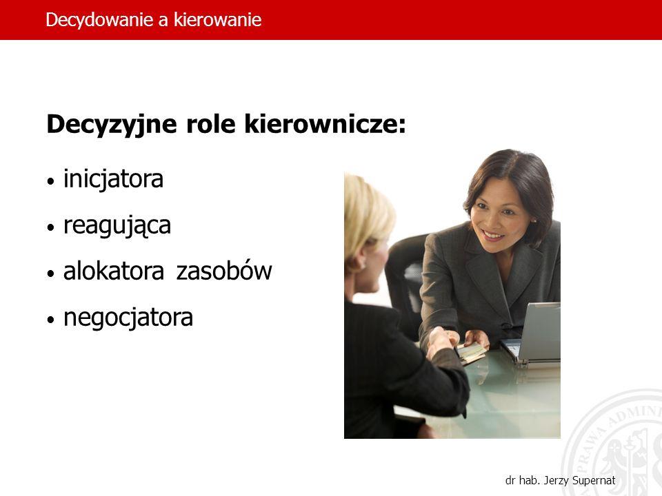 12 Informacyjne role kierownicze: monitorująca dystrybutora informacji rzecznika Decydowanie a kierowanie dr hab. Jerzy Supernat