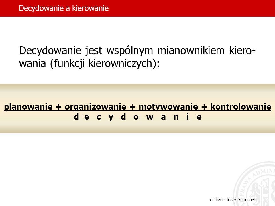 5 Andrzej M. Zawiślak (ur. 1937): Istotą zarządzania jest permanentny proces po- dejmowania decyzji. Decydowanie a kierowanie dr hab. Jerzy Supernat