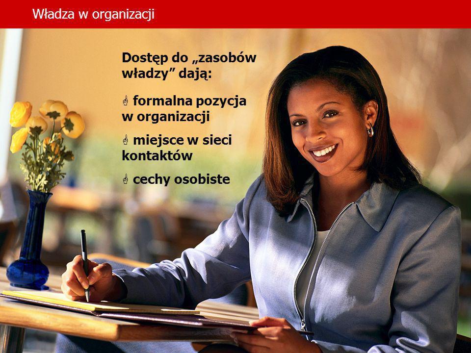 Władza w organizacji Dostęp do zasobów władzy dają: formalna pozycja w organizacji miejsce w sieci kontaktów cechy osobiste