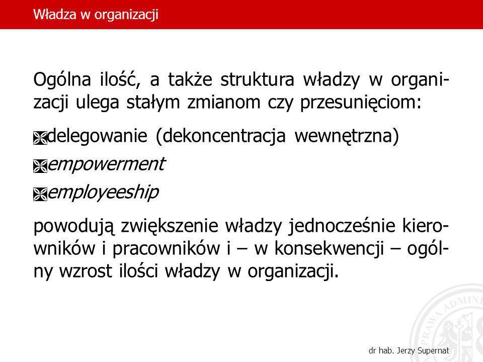 Władza w organizacji dr hab. Jerzy Supernat Ogólna ilość, a także struktura władzy w organi- zacji ulega stałym zmianom czy przesunięciom: delegowanie