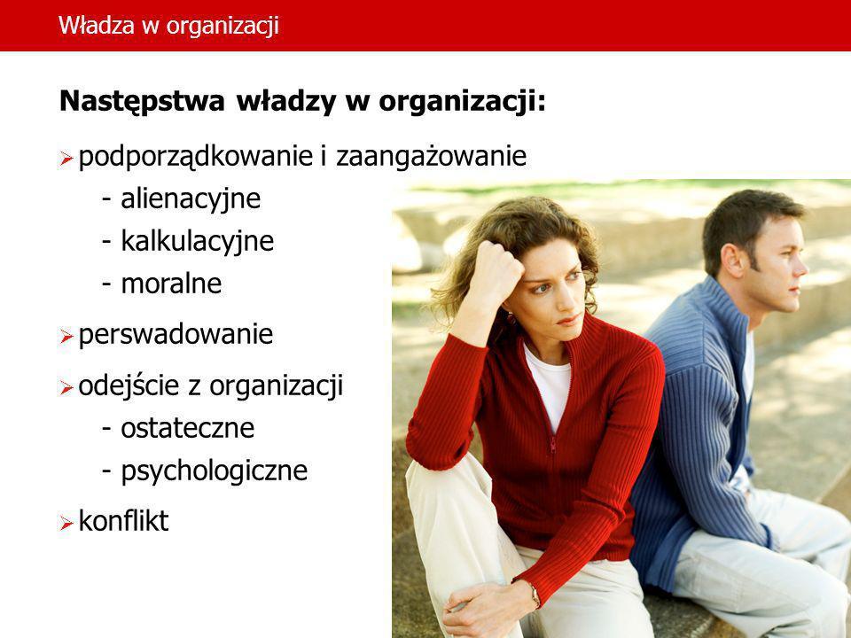 Władza w organizacji Następstwa władzy w organizacji: podporządkowanie i zaangażowanie - alienacyjne - kalkulacyjne - moralne perswadowanie odejście z
