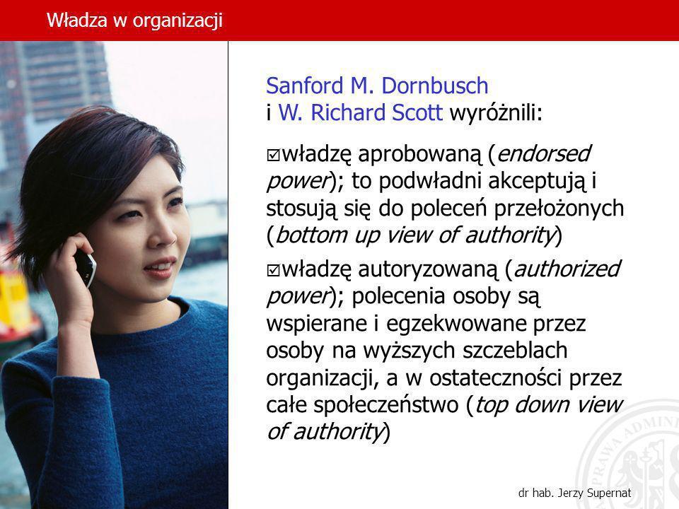 Władza w organizacji dr hab. Jerzy Supernat Sanford M. Dornbusch i W. Richard Scott wyróżnili: władzę aprobowaną (endorsed power); to podwładni akcept